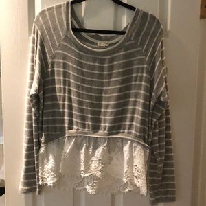 Tops - Striped sweater with lace!!